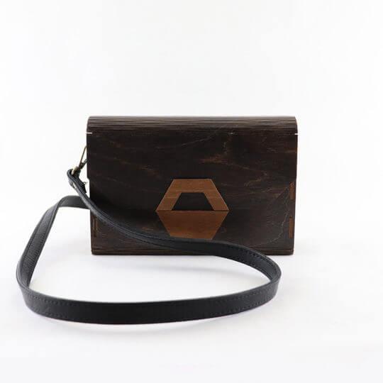 Wooden handmade crossbody bag, brown with geometrical hexagon locking system
