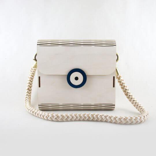 Hra wooden shoulderbag white with evil eye blue